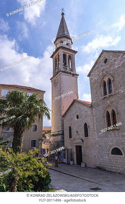 Roman Catholic Cathedral of Saint John the Baptist on the Old Town of Budva city on the Adriatic Sea coast in Montenegro