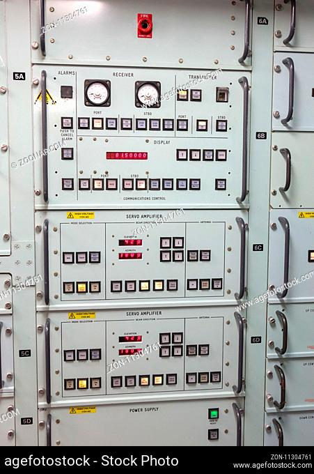 Button panel in an old dutch navy vessel