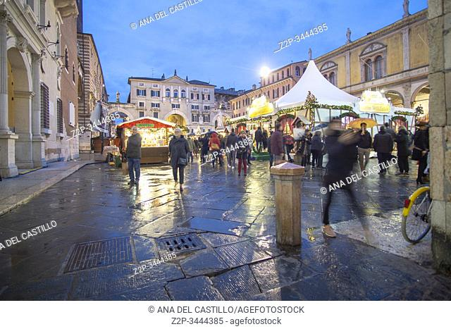 Verona Veneto on November 23, 2019 Christmas market by dusk