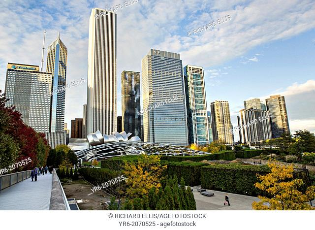 Skyline of Skyscrapers and Millennium park in Chicago USA