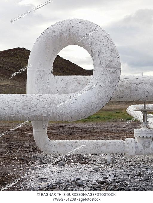Industrial decay on pipes at Bjarnarflag Geothermal Plant, Iceland
