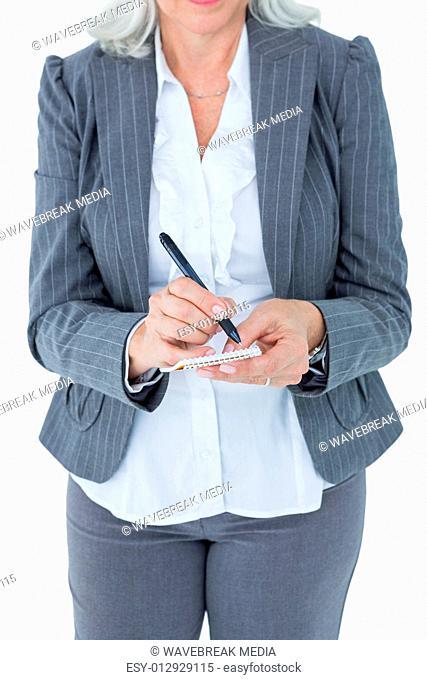 businesswoman holding notebook