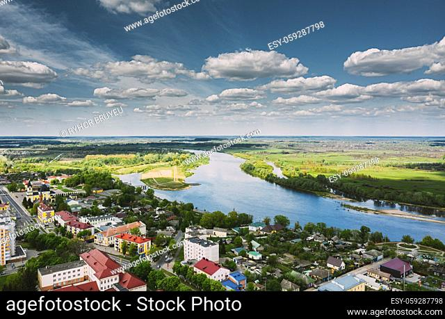 Rechytsa, Belarus. Aerial View Of Residential Houses Skyline Cityscape In Summer Day. Top View. Drone View. Bird's Eye View