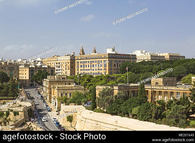Valletta city skyline and old fortification walls, Malta