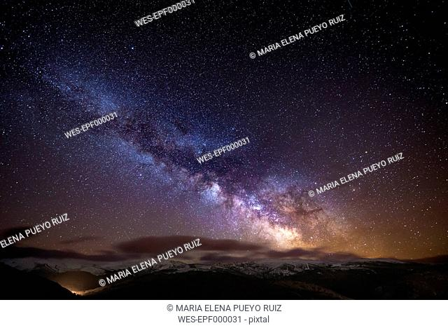 Spain, Ourense, night shot with stars and milky way in winter