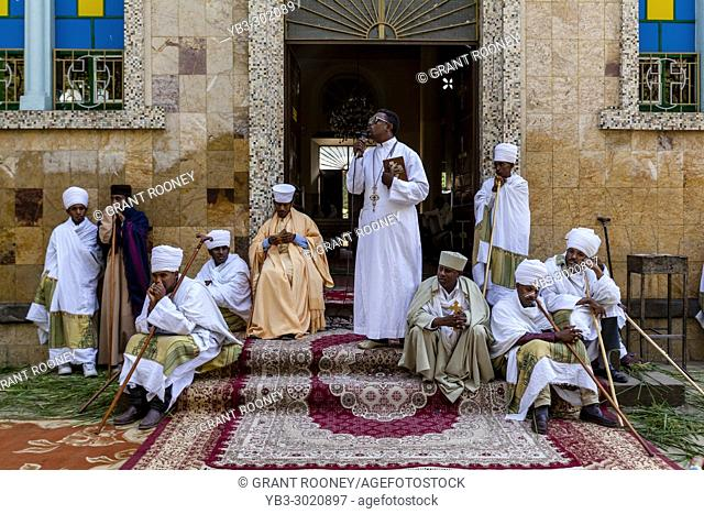 An Ethiopian Orthodox Christian Priest Gives A Sermon At Kidist Mariam Church At The Start Of The Timkat (Epiphany) Celebrations, Addis Ababa, Ethiopia