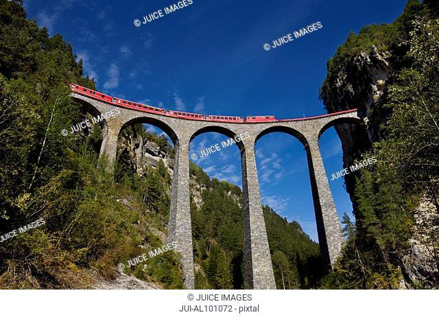 Rhaetian Railway (Rhatische Bahn) on the Landwasser Viaduct, World Heritage Site, Filisur, Grisons, Switzerland