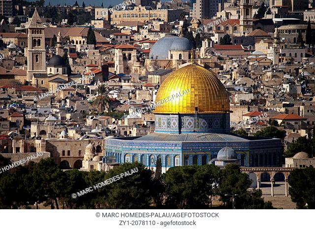 Classical panoramic view over the Dome of the Rock and Holy Sepulchre from Mount of Olives (Jerusalem)