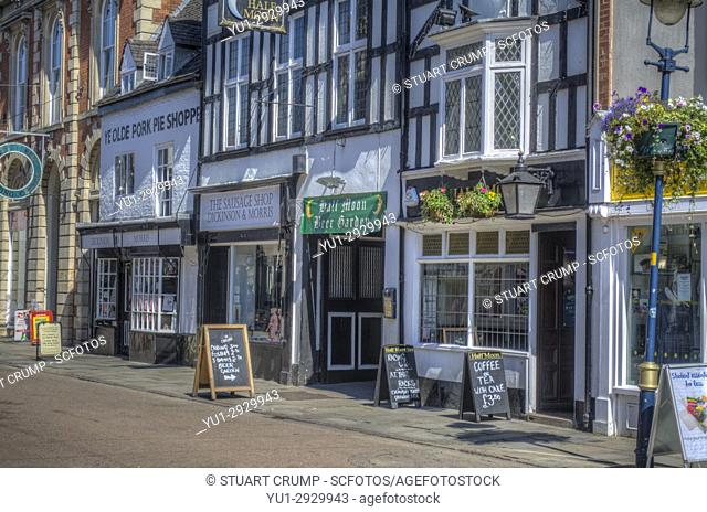 3703639796837 HDR image of Ye Olde Pork Pie Shoppe, the Dickinson & Morris Sausage shop  and Half Moon Pub on..., Stock Photo, Picture And Rights Managed Image. Pic.