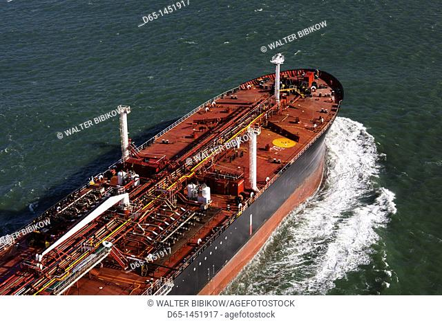 USA, California, San Francisco, Presidio, Golden Gate National Recreation Area, elevated view of commercial shipping from Golden Gate Bridge