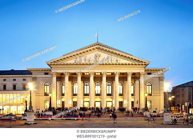 Germany, Bavaria, Munich, National Theatre at blue hour
