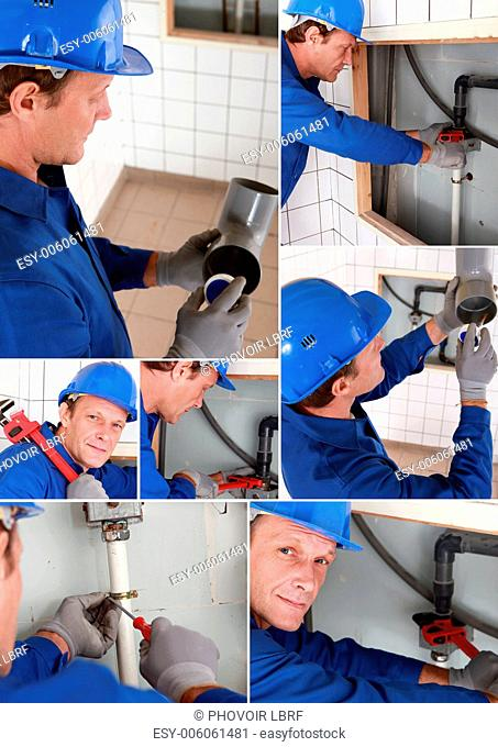 Plumber installing a water system