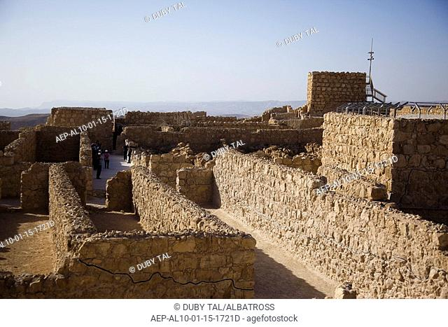 Photograph of the ruins of the archeologic site of Masada in the Judean desert