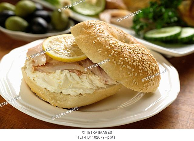 Sandwich with whitefish and cream cheese