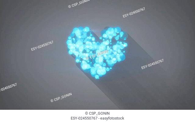 glowing blue heart shape with long shadows