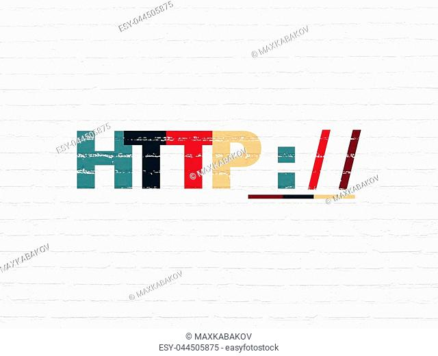 Web design concept: Painted multicolor text Http : / / on White Brick wall background