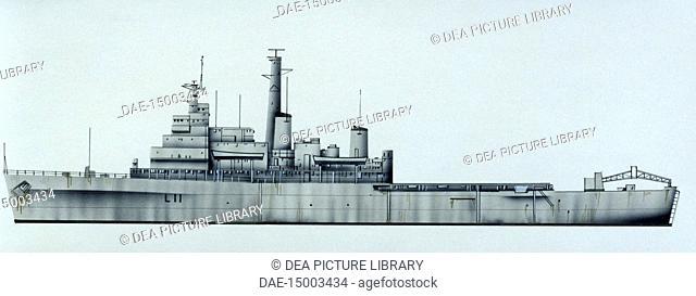 Naval ships - British Royal Navy amphibious assault ship HMS Intrepid, 1964. Color illustration