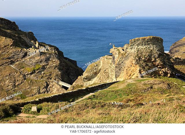 Tintagel, Cornwall, England, UK, Britain, Europe  Ruins of legendary Camelot Castle of King Arthur on the rocky headland on the Cornish west coast