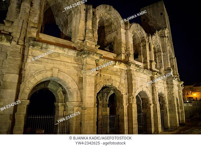 Amphitheatre at night, Arles, Bouches-du-Rhone, France