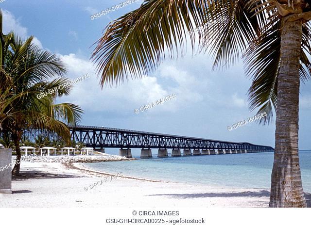 Bahia Honda Rail Bridge to Keys, Florida, 1955