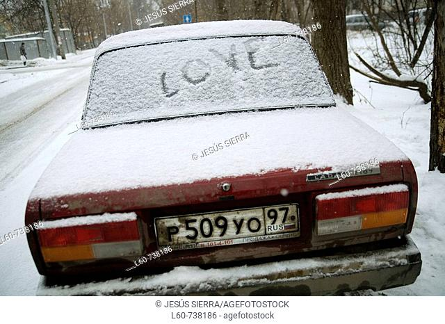 'Love' on snow-covered car, Moscow, Russia