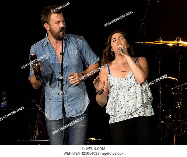 Lady Antebellum performing at Scotiabank Saddledome in Calgary Featuring: Hillary Scott, Charles Kelly Where: Calgary, Canada When: 15 Jul 2016 Credit: WENN