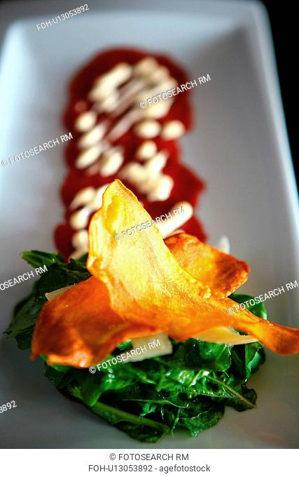 Carpaccio of aberdeen angus beef with rocket and wasabi mayonnaise and sweet potato crisps