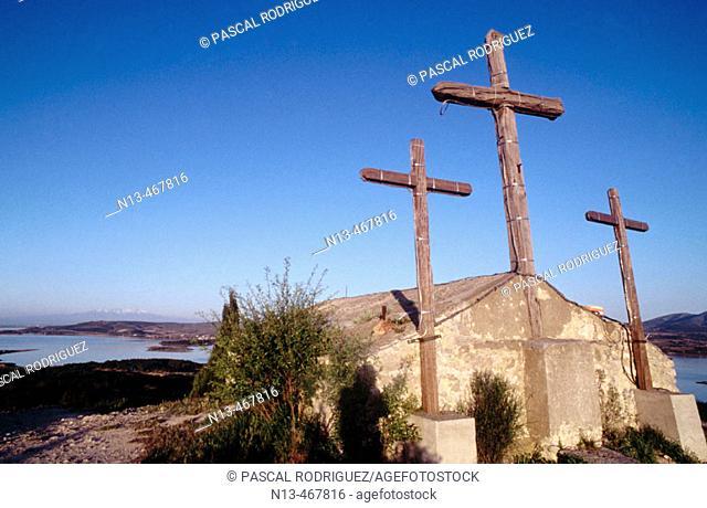 Church. Leucate castle. Pond. Aude. France