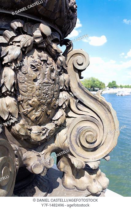 sculpture, Alexander III bridge, Paris, France