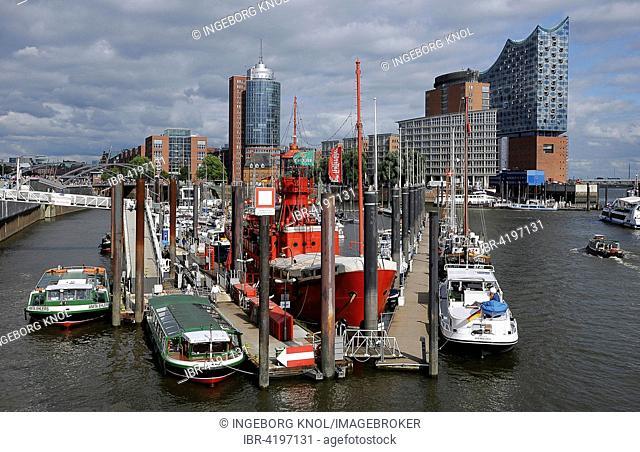 Port of Hamburg, overlooking the Kehrwiederspitze with Elbe Philharmonic Hall, Hamburg, Germany