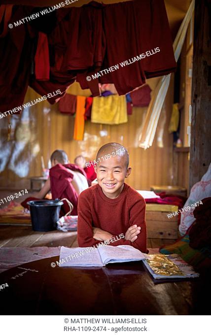 Novice Buddhist monk at a Buddhist monastery at Inle Lake, Shan State, Myanmar (Burma), Asia
