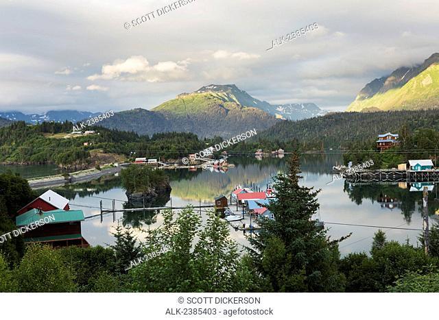 Scenic view overlooking Halibut Cove, Kachemak Bay, Southcentral Alaska