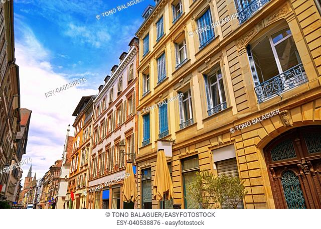 Strasbourg Grand rue street facades in Alsace France
