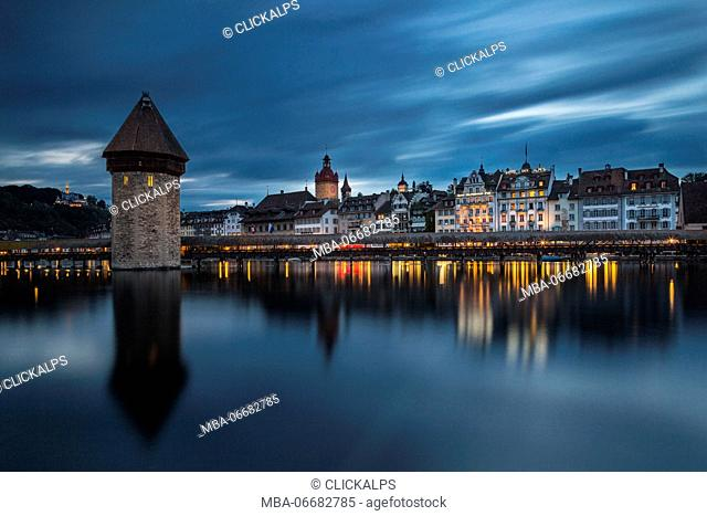 Lucerne and the Chapel Bridge (Lucerne, Lucerne canton, Switzerland, Europe)