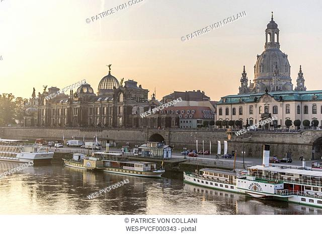 Germany, Dresden, view to city with Elbe River in the foreground in the morning