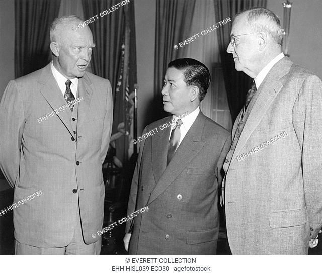 President Eisenhower and John Foster Dulles with Vietnam President Ngo Dinh Diem in the Oval Office. May 9, 1957. - (BSLOC-2014-16-213)
