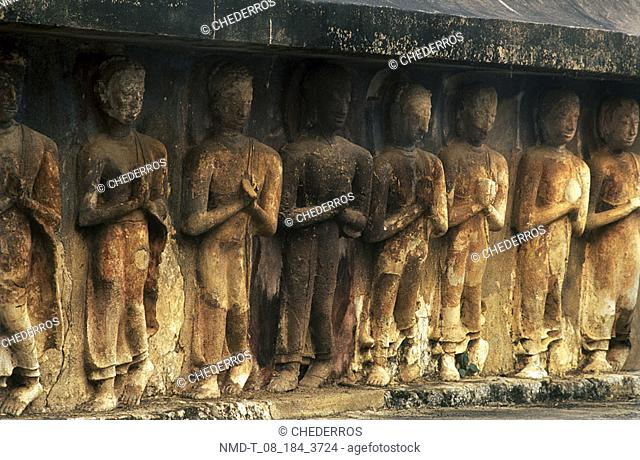 Close-up of carvings on the wall, Thailand