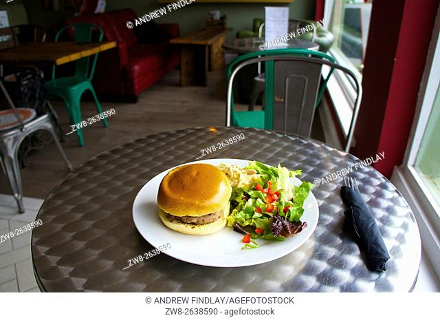 Hamburger with side salad on a plate in a cafe
