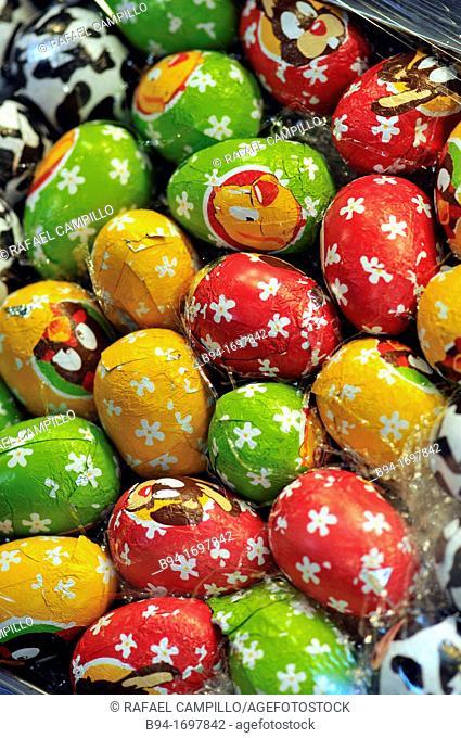 Easter eggs  La Boqueria market  Barcelona  Catalonia  Spain