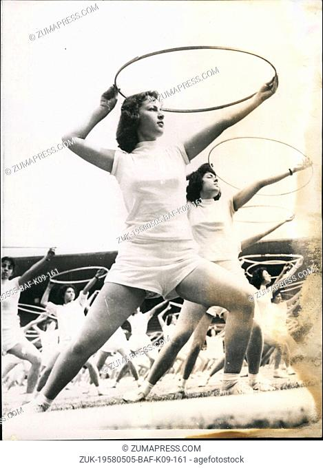 May 05, 1958 - Turkish Amazons Show Their Prowess: Looking very shapely - Turkish teenager seen as they give a demonstration of gymnastics at the Istanbul...