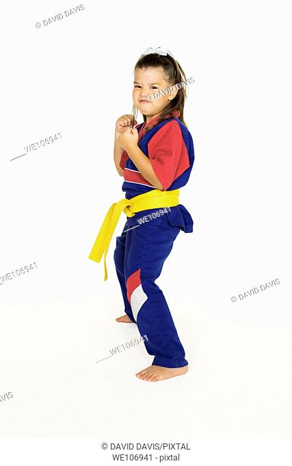 Four year old practicing Martial Arts