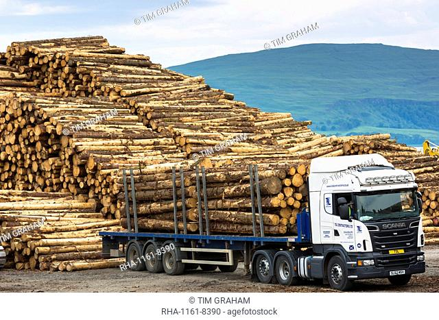 Logging and timber production and transportation at Craignure, Isle of Mull, Inner Hebrides, Scotland, United Kingdom, Europe