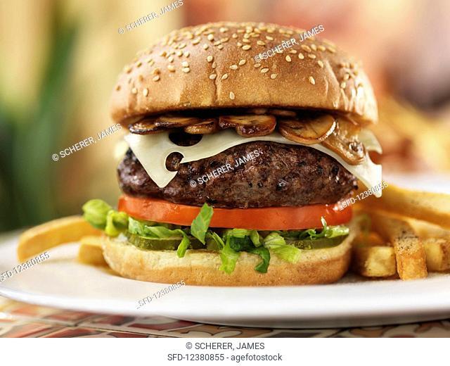 Burger with Emmentaler and Mushrooms