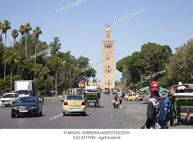 Koutoubia Mosque Minaret Viewed from Jemaa el-Fna Square in Marrakech, Morocco