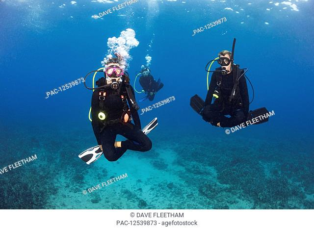 A group of three divers demonstrate neutral buoyancy skills over a reef; Hawaii, United States of America