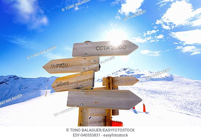 Cerler sky area snow signs in Pyrenees of Huesca at Spain