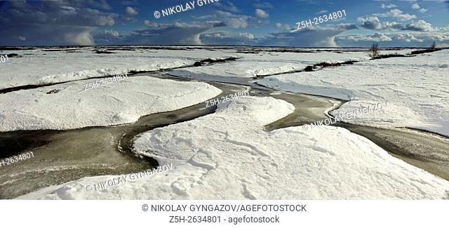 Siberia. Snowy winter. Natural pattern of snow