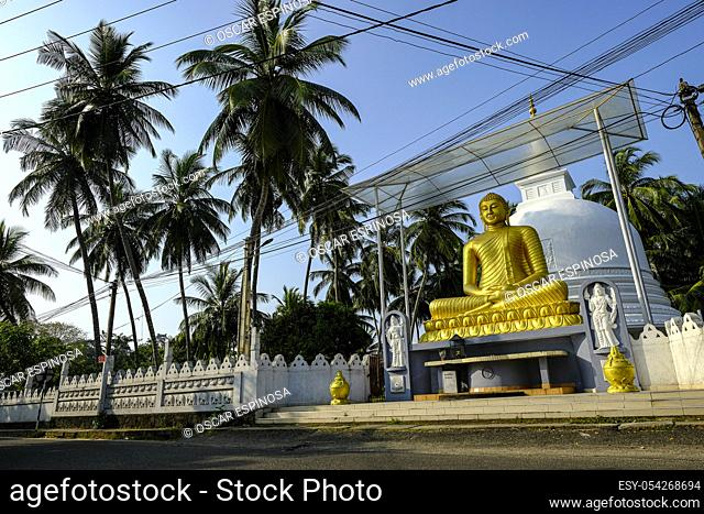 Buddha statue on a street in Galle, Sri Lanka