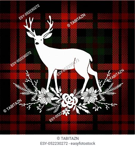 Merry Christmas greeting card, invitation. Reindeer with Christmas bouquet, floral decoration. Tartan checkered plaid, vector illustration background