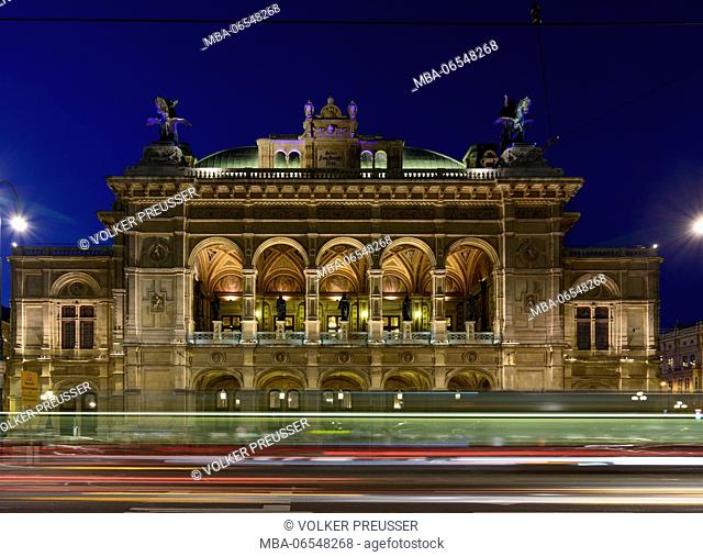 State Opera at Opernring with light trails of cars, Wien, Vienna, 01. Old Town, Wien, Austria